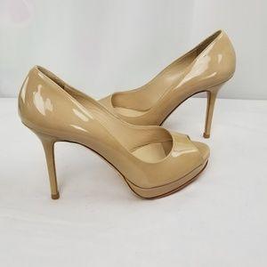 Jimmy Choo Beige Patent Platform Heels Pumps 37.5